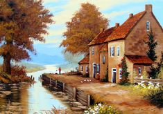 UKRAINE FINE ART. Классическая живопись, Чижевский Ярослав. River Painting, Artist Painting, House Painting, Watercolor Paintings, Oil Paintings, Oil Painting Pictures, Art Pictures, Ukraine, Boat Art