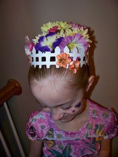 Cricut picket fence and flowers for Crazy Day  -I got the idea from http://www.beeinourbonnet.com/2011/03/crazy-hair-day-with-allison.html