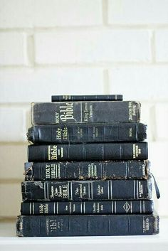 Old Bibles with thick stories to tell.