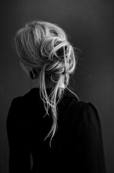 Black Sheer Blouse, Messy Updo // elegant