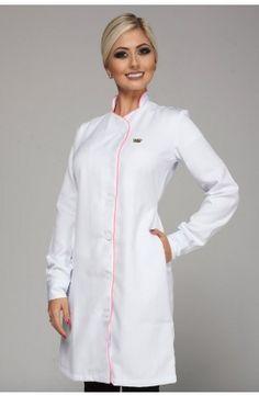 Jaleco Royal White com faixa pink