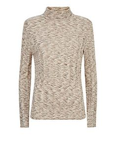 Stone Chevron Fine Knit Roll Neck Long Sleeve Top  | New Look