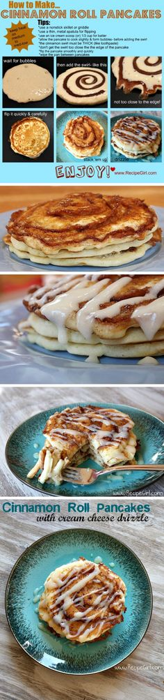 Cinnamon Roll Pancakes!!!! I may have pinned this already but can you blame me... my mouth is watering just lookin at these! :)
