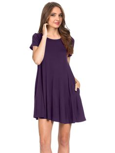 Women/'s Cross Back V-Neck Pocket T-Shirt Dress for Women  By Yelete Mauve color