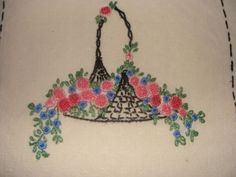 Vintage-Woven-French-Knot-Flower-Basket-Embroidered-Bedspread-Off-White-Twin-Sz