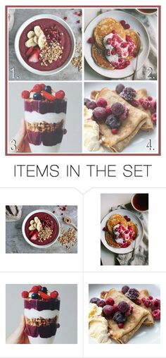 """""""Your favourite breakfast"""" by fashion-onedirection ❤ liked on Polyvore featuring art, preference, breakfast, pancakes, smoothie and oatmeal"""