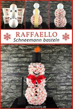 Ein wundervolles Weihnachtsgeschenk für alle Süßigkeiten-Liebhaber! #Schneemann #Schneemannbasteln #DIY #Raffaello #RaffaelloSchneemann #Weihnachten #Xmas #Christmas #Weihnachtsgeschenk #Geschenke #Geschenkideen