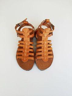 Men Leather Sandals - Men Gladiator Sandal in Light Brown Color