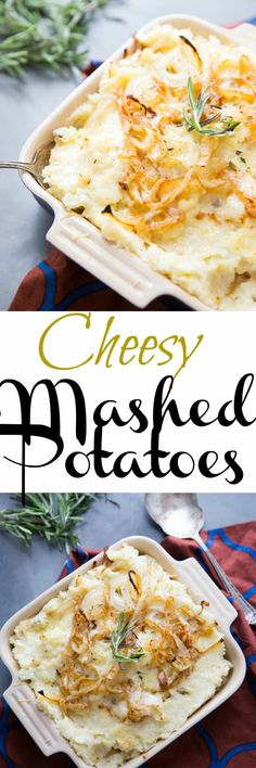 Cheesy Mashed Potatoes are comfort food at it's best. This comforting dish is blended with    This comforting dish is blended with Gruyere cheese and caramelized onions. via @Lemonsforlulu