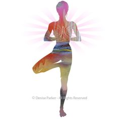Yoga Art TREE POSE Small Yoga Wall Art Yoga Pose by YogaColors
