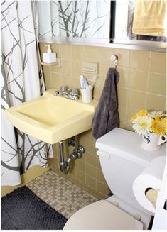 Bathroom Yellow And Gray yellow bathroom tile with grey walls | new house!:) | pinterest