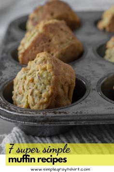 These 7 muffin recipes are tried and true. Simple muffin recipes made with ingredients you likely have in your pantry! We love muffins for breakfast and they also make great afterschool snacks! These muffin recipes freeze great for meal prep over the weekend. #muffinrecipe #quickbreakfastrecipe All Bran Muffins, Oatmeal Breakfast Muffins, Easy Blueberry Muffins, Lemon Poppyseed Muffins, Healthy Muffins, Quick Snacks, Simple Snacks, Simple Meals, Apple Cinnamon Oatmeal