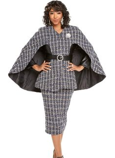 Donna Vinci 5602 Womens Skirt Set Exclusive Boucle' Jacket Skirt Set Color Navy Off-White Black Size First Lady Church Suits, Church Suits And Hats, Women Church Suits, Church Attire, Church Dresses, Church Outfits, Suits For Women, Jacket Dress, Peplum Dress