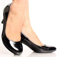 Black-Patent Classic Vtg Style Round Toe Women Low Mid Heel Pump Shoes
