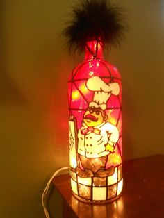 Hand Painted Lighted Wine Bottle Fat Chef Inspiered Stained Glass look