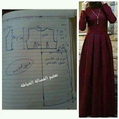 Long Dress Patterns, Dress Sewing Patterns, Clothing Patterns, Sewing Clothes, Diy Clothes, Abaya Pattern, Mode Abaya, Muslim Dress, Abaya Fashion