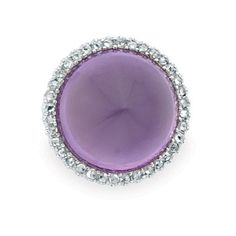 Antique Cabochon Amethyst and Diamond Pendant-Brooch, Black Starr & Frost   Platinum, gold, one round cabochon amethyst ap. 18.5 x 18.8 mm., rose-cut diamonds, signed B.S. & F., c. 1900