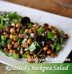 Roasted Chickpea SaladIngredients: 1 can chickpeas (washed and drained) 4 tbsp olive oil 2 tbsp balsamic vinegar 2 cloves garlic (minced) 1 1/4 tsp salt pinch of freshly ground black pepper 2 cups arugula 2 tbsp green onions 1/4 cup mushrooms (white or portobello) 5 tbsp shredded parmesan cheese ____________________________________ 1. Preheat oven for 400F …