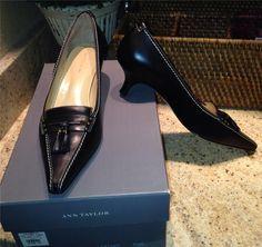 NEW $108 Ann Taylor Maxine Black Leather Tassel Pumps Shoes 7.5 M