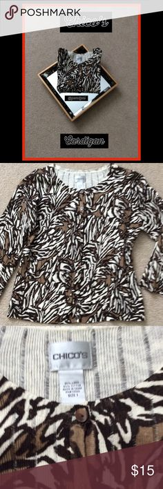 Jungle Print Cardigan by Chico's🌴 Brown, Black & Tan Jungle Leaf Pattern Cardigan, seldom worn. 3/4 Sleeves, Brown Buttons down the Front. Fabric is 55% Cotton and 45% Linen. Chico's Sweaters Cardigans