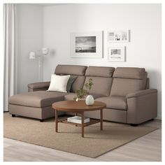 LIDHULT Sofa - with chaise/Lejde beige/brown - IKEA