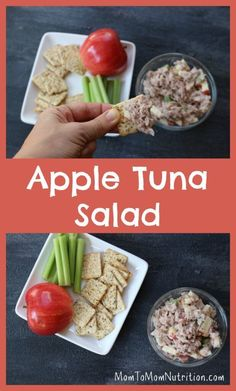 Canned tuna is given fresh flavor with fresh apples, celery, and Greek yogurt dressing! Apple tuna salad is delicious on whole wheat bread or fresh lettuce greens. to Mom Nutrition- Katie Serbinski, MS, RD Healthy Side Dishes, Good Healthy Recipes, Yummy Recipes, Greek Yogurt Recipes, Tuna Salad, Chicken Salad, Kid Friendly Meals, Healthy Eating, Healthy Lunches
