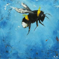 Bee painting 222 12x12 inch original oil painting by Roz
