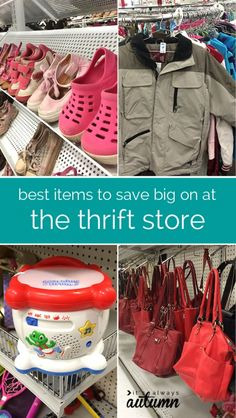 learn how to save the most money at the thrift store. what items will save you the most plus tips and tricks on how to get a great deal. Thrift Store Shopping, Thrift Store Finds, Shopping Hacks, Thrift Stores, Goodwill Finds, Store Hacks, Frugal Living Tips, Frugal Tips, Saving Ideas