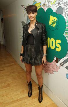Rihanna Leather Perfection - head to toe