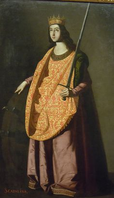 It's About Time: The Female Saints of Francisco de Zurbarán Spanish Painters, Spanish Artists, Francisco Zurbaran, St Catherine Of Alexandria, Sacs Tote Bags, Santa Marina, Esteban Murillo, Different Forms Of Art, Spain