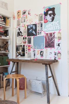 Beautiful Bohemian Kids Bedrooms of doll designer Jess Brown's teenage children. Different sized posters tacked with tape make for a colourful collage of personality