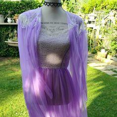 Camicia da notte e vestaglia shabby chic viola vintage unico!~