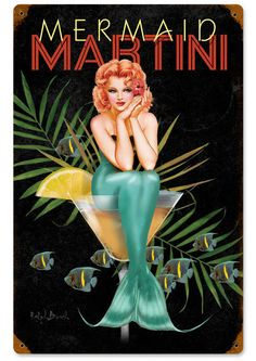 Vintage and Retro Tin Signs - JackandFriends.com - Mermaid Martini Vintage Metal Sign 12 x 18 Inches, $29.98 (http://www.jackandfriends.com/mermaid-martini-vintage-metal-sign-12-x-18-inches/)