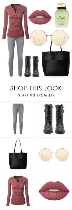 """Casual in mish"" by sabiheja on Polyvore featuring AG Adriano Goldschmied, Street Level, Victoria Beckham, Lime Crime and Dolce&Gabbana"