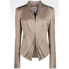 ARMANI COLLEZIONI Jacket In Jacquard Wool Blend ($838) ❤ liked on Polyvore featuring outerwear, jackets, sand, wool blend jacket, armani collezioni, long sleeve jacket, jacquard jacket y brown jacket