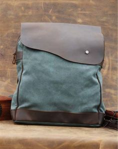GREEN CANVAS bag BACKPACK Superior Genuine Cow Leather Briefcase   Messenger  bag   Laptop bag   697a2a006dfbe