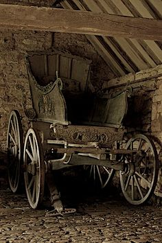 19th century horse trap/cart  Even old barns, carriage houses, or stairs with no buildings to be seen have their stories hidden deep within