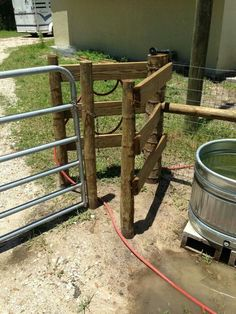 Walk in fence. This way you don't have to unlatch the gate every time, but your livestock stay in.