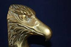 """Bald Eagle Brass Bookends Finely Detailed Heavy 5"""" high Brass Paperweigt VGC"""