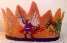 Made to order. Wonderful dressing up crown depicting St Michael fighting the dragon with a fiery autumn sky in the background. With Michaelmas daisies