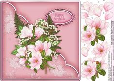 "Pink Magnolias Square Decoupage on Craftsuprint designed by Sandie Burchell - Beautiful 8"" x 8"" Square Decoupage with Pink Magnolias. Sentiment panel reads: Happy Birthday. Please take a look at my other designs by clicking on my name. - Now available for download!"