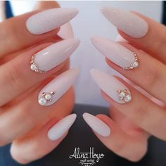 Do you want to easily find your favorite almond nails and oval nails? We have 90 the hottest almond and oval nails for you. Enjoy these amazing nails art in your spare time! We hope to have your favorite. Wedding Nails For Bride, Bride Nails, Wedding Nails Design, Wedding Dress, Nail Wedding, Wedding Acrylic Nails, Cute Nails, Pretty Nails, Bridal Shower Nails