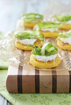 Polenta Bites with Ricotta and Shaved Asparagus - Cookie Monster Cooking