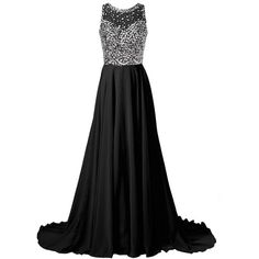 Callmelady Chiffon Long Prom Dresses 2016 with High Neck Beaded Mesh... (130 CAD) ❤ liked on Polyvore featuring dresses, prom dresses, mesh dress, long dresses, high neck cocktail dress and long prom dresses
