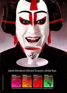 Lipton Tea print ad 'Lipton Introduces Oriental Treasures Herbal Tea' w/ image of person in Japanese kabuki theatre makeup and a tea bowl/cup 1987, USA