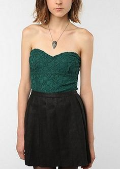 Pins and Needles Lace Zip-Back Bustier