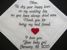 Personalized Wedding Handkerchief for the Mother of the Bride. $24.00, via…