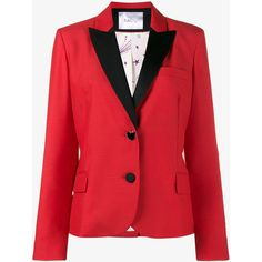 RACIL 'mick' slim fit blazer (1,235 CAD) ❤ liked on Polyvore featuring outerwear, jackets, blazers, red blazers, peak lapel blazer, slim blazer, red jacket and one-button blazer