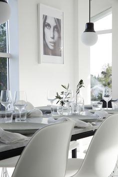 White chairs, black tabletop