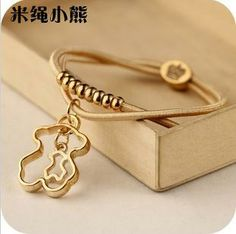 new pendant beaded hair band hair accessories jewelry Little Bear bracelets B127-in Charm Bracelets from Jewelry on Aliexpress.com